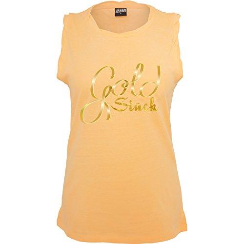 Statement Shirts - Goldstück - ärmelloses Damen T-Shirt mit Brusttasche Neon Orange