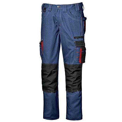 Pantalone da lavoro pantalone multitasche lavoro uomo lunghi Harrison colore blu avio taglia 44-58 realizzato in poliestere e cotone Broken Twill marca Sir safety sistem (48, Blu avio)