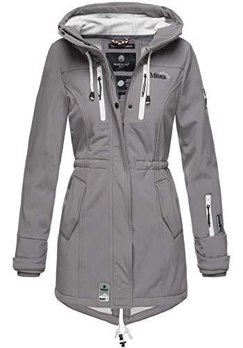 Marikoo Damen Winter Jacke Winterjacke Mantel Outdoor wasserabweisend Softshell B614 (Gr. M/Gr. 38, Grau)