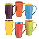 Colourful Cups & Mugs 403046G+876 Set da 6 tazze per Cappuccino, Colori Assortiti
