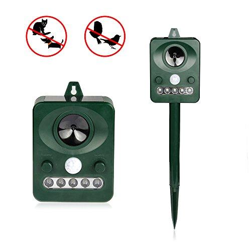 Fontic Solar Tiervertreiber Outdoor Wasserdicht IPX4 Ultraschall Tier Repeller 5 Modus mit PIR-Sensor gegen Katze, Hund, Nagetier usw. inkl. Erdspieß schützen Sie Ihre Garten und Rasen Test