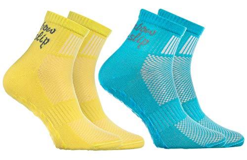 Rainbow Socks 2 Paar ABS Sportliche ANTI-RUTSCH-Socken für KINDER - Atmende BAUMWOLLE - Glatter Fußboden, Trampoline, Gymnastik, Yoga, Kampfsport, Tanzen - Türkis Gelb Pack  Größen: EU 24-29, (Türkis Gelb)
