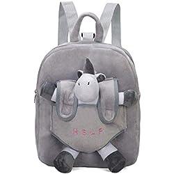 Cartable détachable sac à dos maternelle en peluche dessin animé mignon petit oiseau rose, licorne, gris