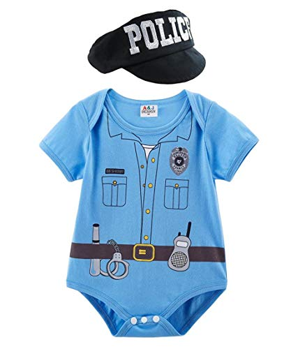 Mombebe Baby Jungen Pilot Halloween Body Kostüm mit Hut (Polizei, 3-6 ()