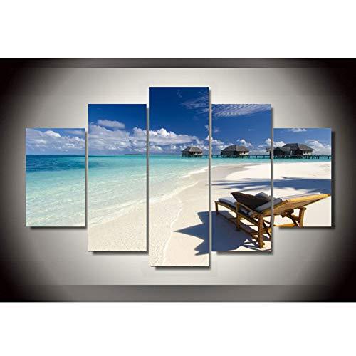 ZAINALIA Poster Dekoration Poster HD Gedruckt Malerei 5 Stücke Seaview Strand Deck Chair Bilder Rahmen Wohnzimmer Moderne Wandkunstwerk,Kein Rahmen 20x35 20x45 20x55cm