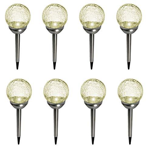 Fachhandel Plus LED Solarleuchten 8 Stück im Bruchglas-Design Edelstahl-Stab mit Erdspieß Solarlampen Gartenkugeln mit Kristallglas und On- und Offschalter