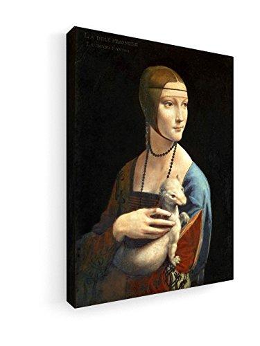 Leonardo da Vinci - Dame mit Ermine - 1480-60x80 cm - Premium Leinwandbild auf Keilrahmen -...