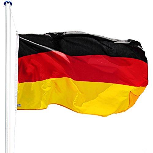 fahnenmast 3m TecTake Aluminium Fahnenmast 6,25 m mit Fahne + Bodenhülse + Seilzug (Deutschland | Nr. 402125)