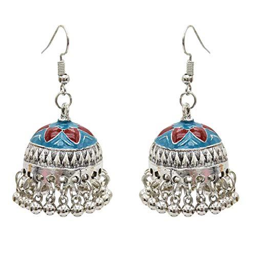 IPOTCH Indische Silber mit Tasel Klinge Jhumka Jhumki Ohrringe Für Damen Mädchen - Blau