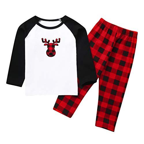 Broadwage Schlafanzüge Sets für Jungen und Mädchen, Kinder Rundhalsoberteil Thermounterwäsche Winter Baselayer - Schwarz-rote Karierte gedruckte Weihnachtshose, Schlafanzug Baumwolle