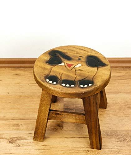 livasia Kinderhocker mit Motiven, Holzhocker für Kleinkinder, Kinderstuhl aus Massivholz (lachender Elefant)