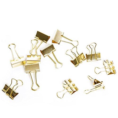 12 kräftige Metall-Klammern Deko-Klammer Büroklammer Clips Zierklammern GOLD-farben 25 mm...