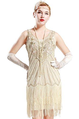 BABEYOND Damen Retro 1920er Stil Flapper Kleider mit Zwei Schichten Troddel V Ausschnitt Great Gatsby Motto Party Kostüm Kleider- Gr. S (Fits 74-84 cm Waist & 92-102 cm Hips), Lavendel Beige