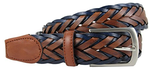 Cintura Intrecciata da Uomo Vera Pelle di alta qualità - Realizzato a mano da artigiani in Spagna - Marrone e Blu Navy