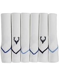 Allen Solly Men's Cotton Handkerchief Navy/Sky Blue_Free Size (Pack of 6)