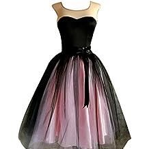 SaiDeng Falda Princesa Encaje Estilo Hada Falda De Multilayer Tul Bouffant Falda Mediado De Ballet Fiesta Negro Pink