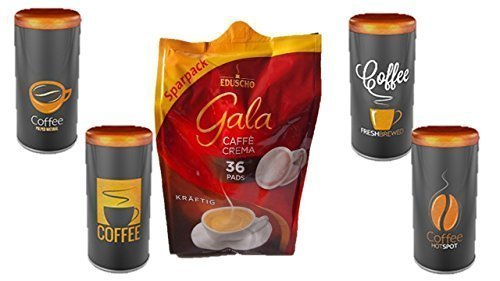 Eduscho Gala Crema, Kräftig 36 Kaffeepads, 252g Packung ... Paddose