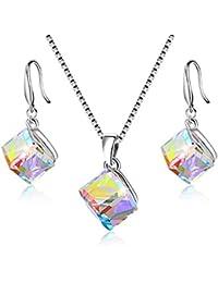 d0f87e6a69da Uloveido Y418 - Juego de Pendientes y Collar de arcoíris para Mujer