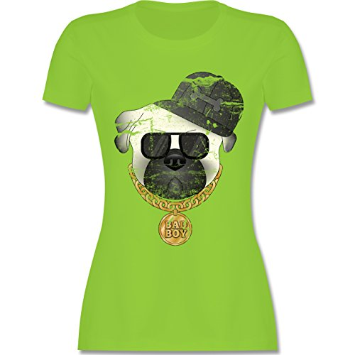 Hunde - Bad Boy Mops Vintage - Damen T-Shirt Rundhals Hellgrün