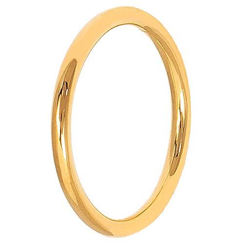 Pernille Corydon Damen Basic Ring Gold - Schlichter schmaler Goldring Silber vergoldet - Größe 52 - R216g-55