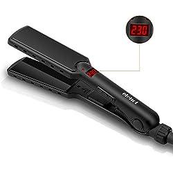 Fer à Lisser Lisseur Cheuveux à Large Plaque avec Ecran LCD de 80-230°C en Céramique Tourmaline Ionique Noir Opaque ELEHOT