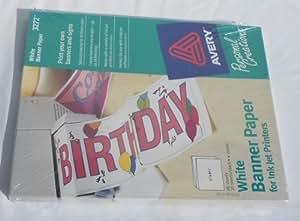 Banderole blanche Papier couleur pour imprimante jet d'encre N ° 3272 Par Avery