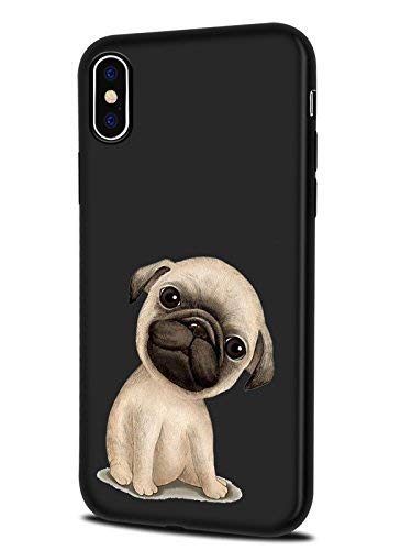 lugeke iPhone X Fall, Premium Color Print Animal Cover für iPhone 10 Weiche Flexible TPU Schutzhüllen mit Fashion Design, Mops - Animal-print Fall