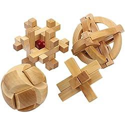 4 Tipos Rompecabezas 3D Puzzle Madera IQ Juguete Educativo Habilidad Ingenio