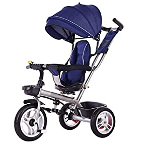 ZCE Folding Baby Tricycle Tricycle Bike Kids Push Stroller With 360° Rotating And Reclining,A   6