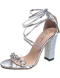 4289d7ec1407d0 HKFV Frau Weibliche grobe Wurzel Reißverschluss High Heels Sandalen mit  hohem Absatz Schuhe Sandalen Ankle High... - goettingen-versicherung.de