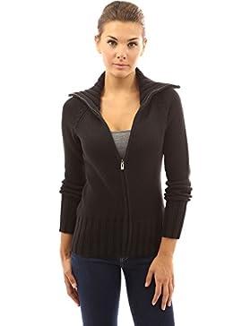 PattyBoutik Mujer collar de cable de cremallera completa de punto chaqueta de punto