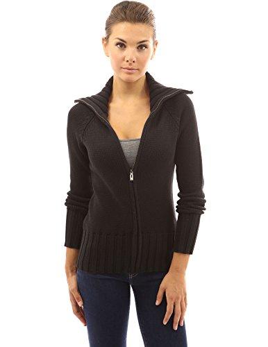 Großer Kragen Jacke (PattyBoutik Damen Baumwoll-Mischgewebe Zopfmuster Strickjacke mit durchgehendem Reißverschluss breiten Kragen und langen Ärmeln (schwarz 46/XL))