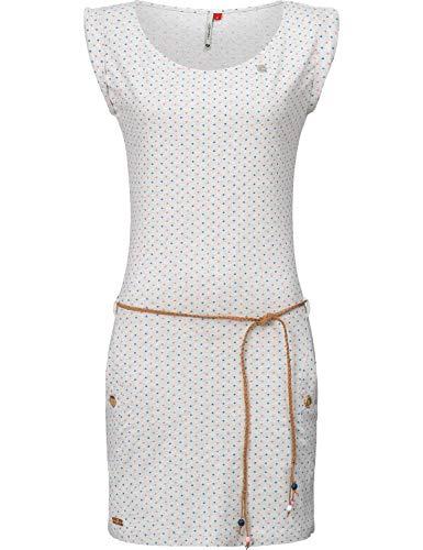 Ragwear Damen Baumwoll Jersey-Kleid Tag Dots Weiß Gr. M Print-mini-kleid Top