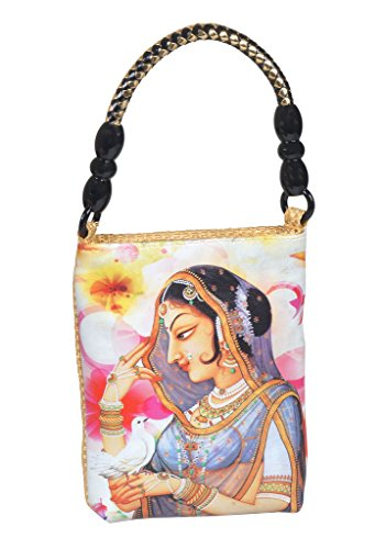 Designer Hand Bag with Digital Print - Ancient Women Design Hand Purse for Ladies - Jute Bag - Beige  available at amazon for Rs.370