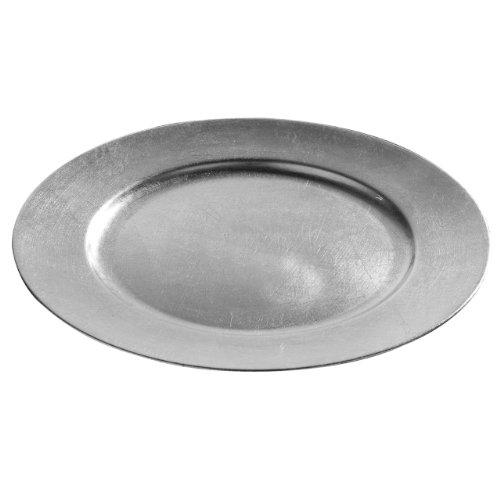 Get Goods Lot d'assiettes de présentation rondes de 33 cm – Rouge / doré / argenté – Plastique – Effet rustique – Facile à nettoyer, Plastique, Silver, 6 Charger Plates