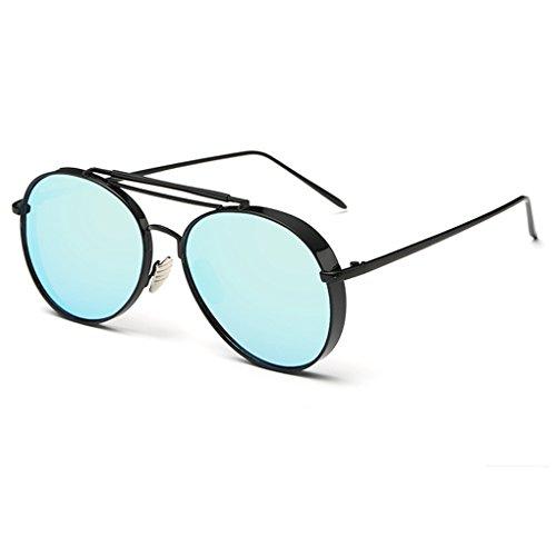 QHGstore Unisex pagina mezza montatura spessa Esterni Sport Eyewear PC classico telaio delle donne degli uomini degli occhiali da sole nero + azzurro + giallo vfrtqEwb