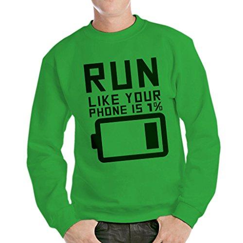 Sweatshirt Lauf Leere Batterie - LUSTIG by Mush Dress Your Style - Herren-L-Grün Batterie-jumper-box