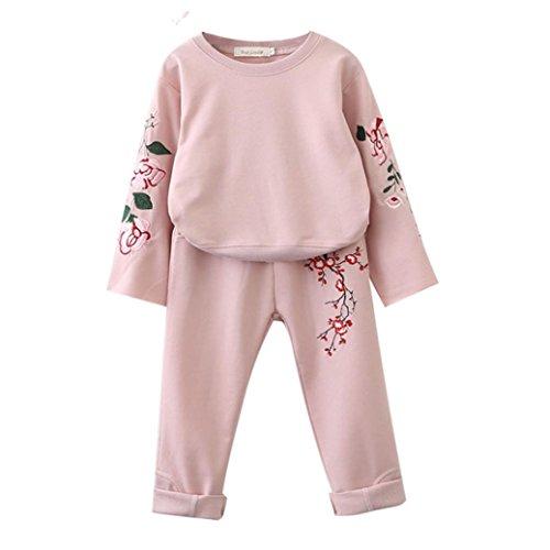 Kleidung mädchen Kolylong® 1 Set (0-7 Jahre alt) Kinder Mädchen Drucken Anzug (Tops + Hosen Lang) Herbst Locker Outfits Suit Kleiderset Sets Babykleidung (100CM (0-3 Jahre alt), (1 Kostüme Alt Jahr)