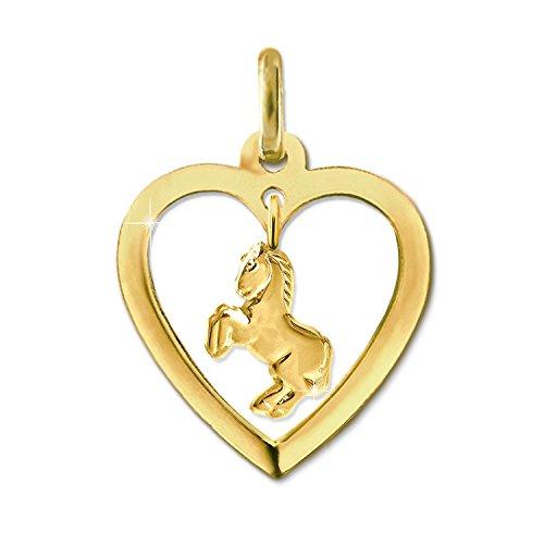 CLEVER SCHMUCK Goldener Anhänger Herz 16 mm offen mit Einhänger Pferd springend glänzend 333 GOLD 8 KARAT