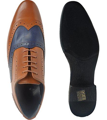 Budapester Schnürhalbschuhe Oxford Herrenschuhe Brogues Schuhe, Herren Braun-Glatt