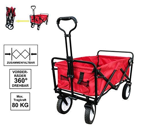 Izzy Bollerwagen faltbar 80kg Kinder klappbar Handwagen Transportwagen Kohlfahrt Karneval Metall ohne Luftreifen Holz (rot)