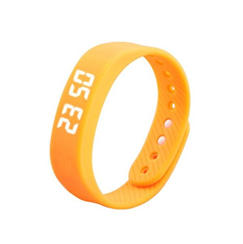 Tutoy T5 Smart Sport Bracelet Auto Date Podemeter Led Display Five Colors Women Men Wristwatch -Orange Red