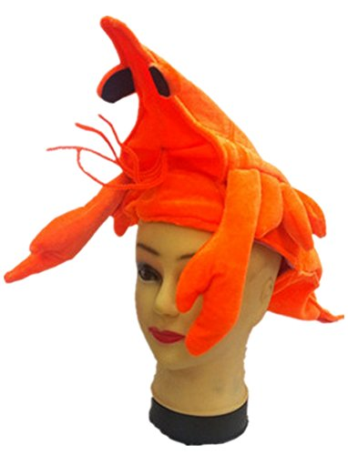 icolor Halloween Festival Party Creative Stereoscopic Marine Life Mardi Gras Party Kostüm Hat Orange Shrimp Soldiers ()