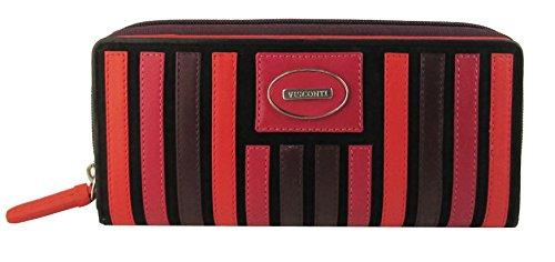 """Visconti portafoglio di pelle da donna """"Berkley"""" multicolore Large Purse (BK52): very berry (toni del rosso)"""