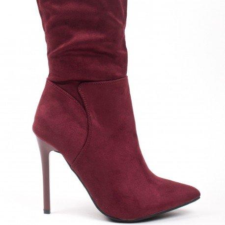 Ideal Shoes - Cuissardes effet daim avec lacets à l'arrière Calice Rouge