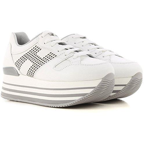 Hogan Sneakers Maxi H222 Donna Mod. HXW2830AA70KLAB001 in Pelle Con H Laterale Borchiata Bianca