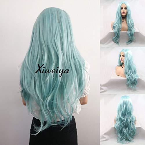 Xiweiya Pelucas encaje frontal verde peluca larga
