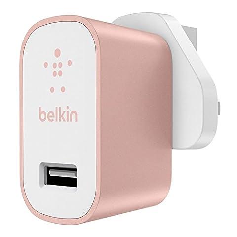 Belkin Premium MIXIT↑ Fast 2.4A Wall USB Mains Charger for Apple iPhone 5/ 5s/ 6/ 7 and Apple iPad Air, iPad 2, iPad Mini (UK Plug) - Rose
