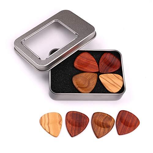 B5645ells Holzgitarre Mandoline Bass Plectrums Pick Set Zubehör mit Eisenbox 4-teilig mehrfarbig