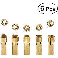 UKCOCO 6Pcs Herramientas rotativas de púas de latón con llave pequeña 1mm /1.5mm / 2mm /2.5mm / 3mm (dorado)